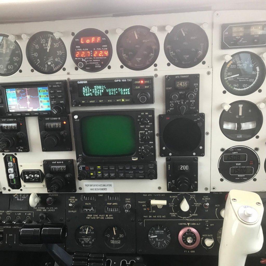 updated panel 1974 Beech B 60 Duke aircraft