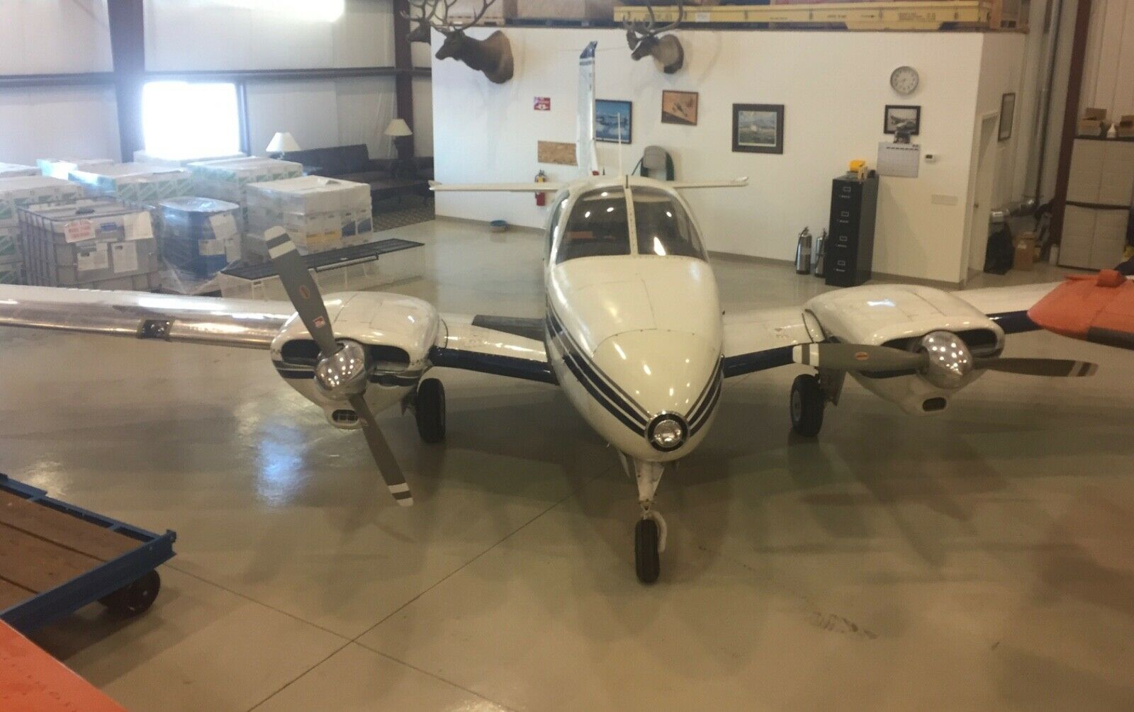 hangared 1959 Beechcraft B95 Travel air Multi Engine aircraft